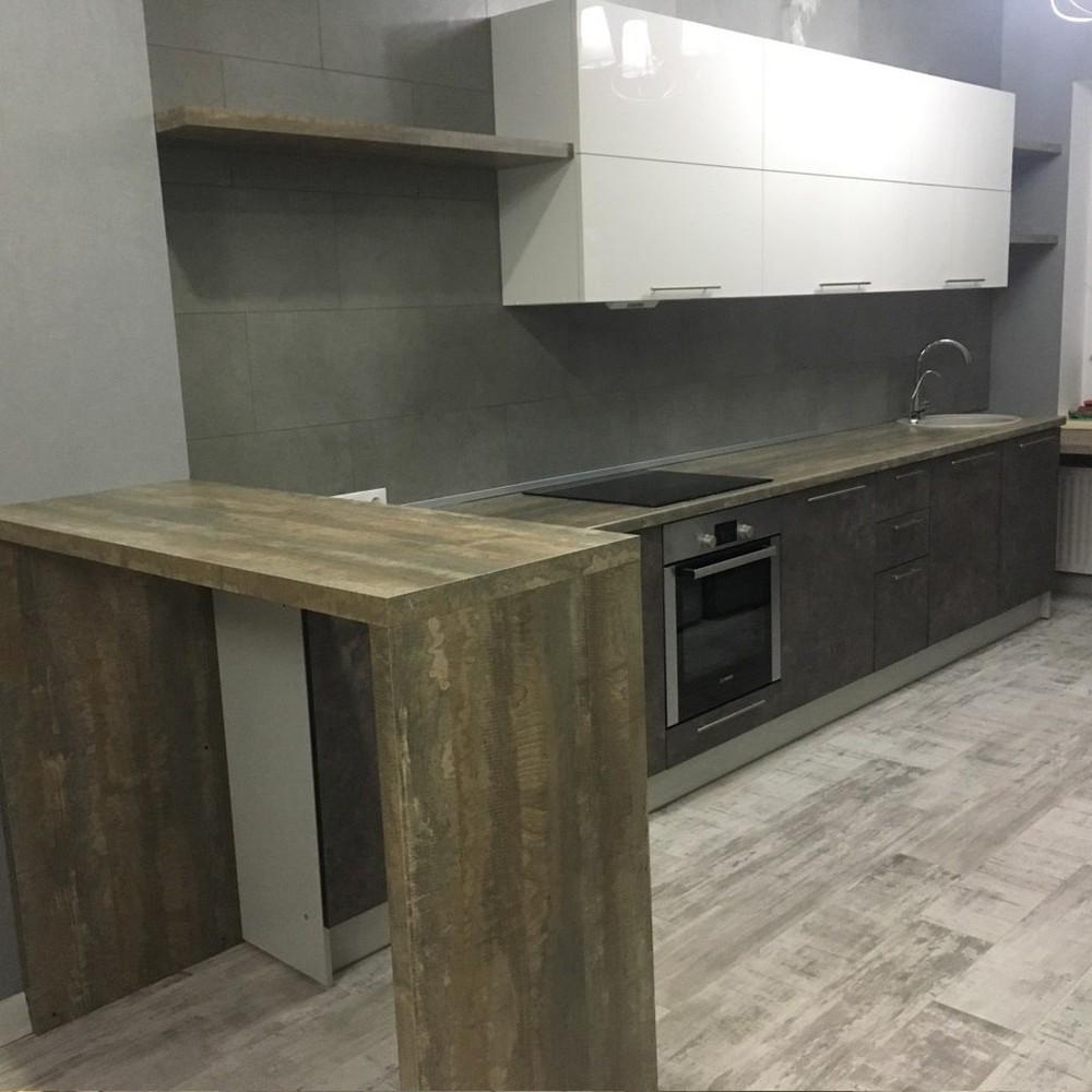 Белый кухонный гарнитур-Кухня МДФ в эмали «Модель 159»-фото1