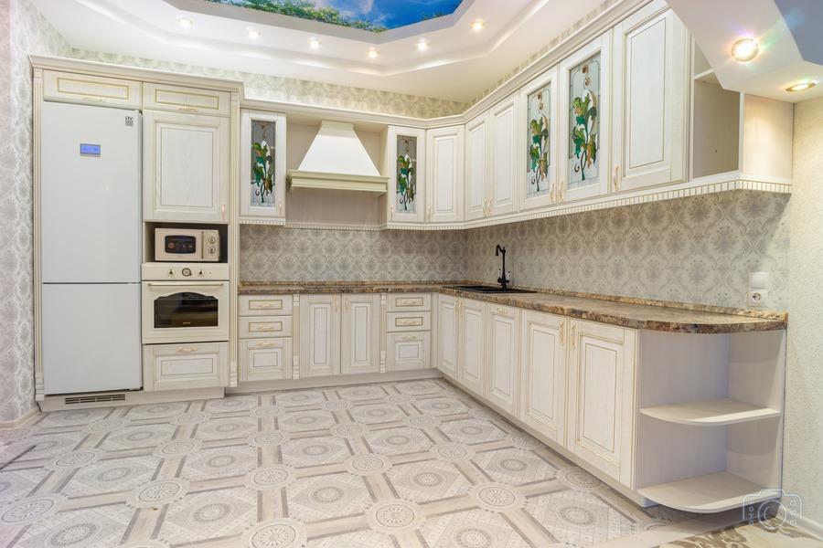 Белый кухонный гарнитур-Кухня из шпона «Модель 8»-фото2