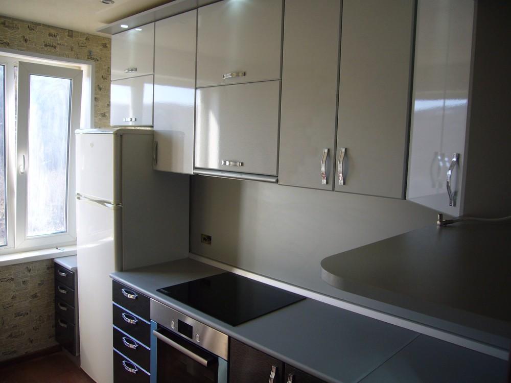 Встроенная кухня-Кухня МДФ в ПВХ «Модель 352»-фото1