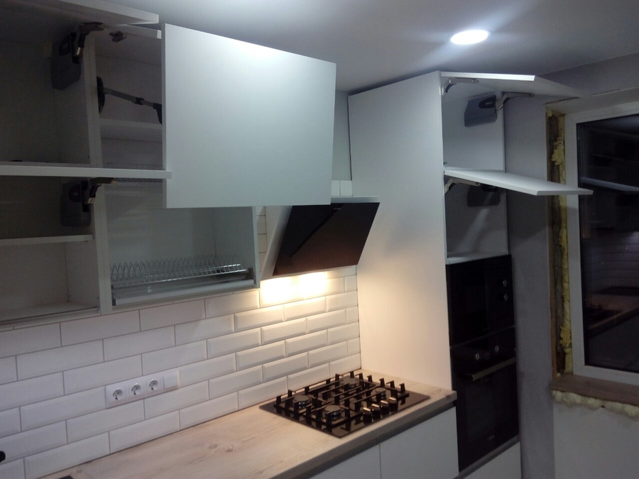 Белый кухонный гарнитур-Кухня из пластика «Модель 198»-фото5