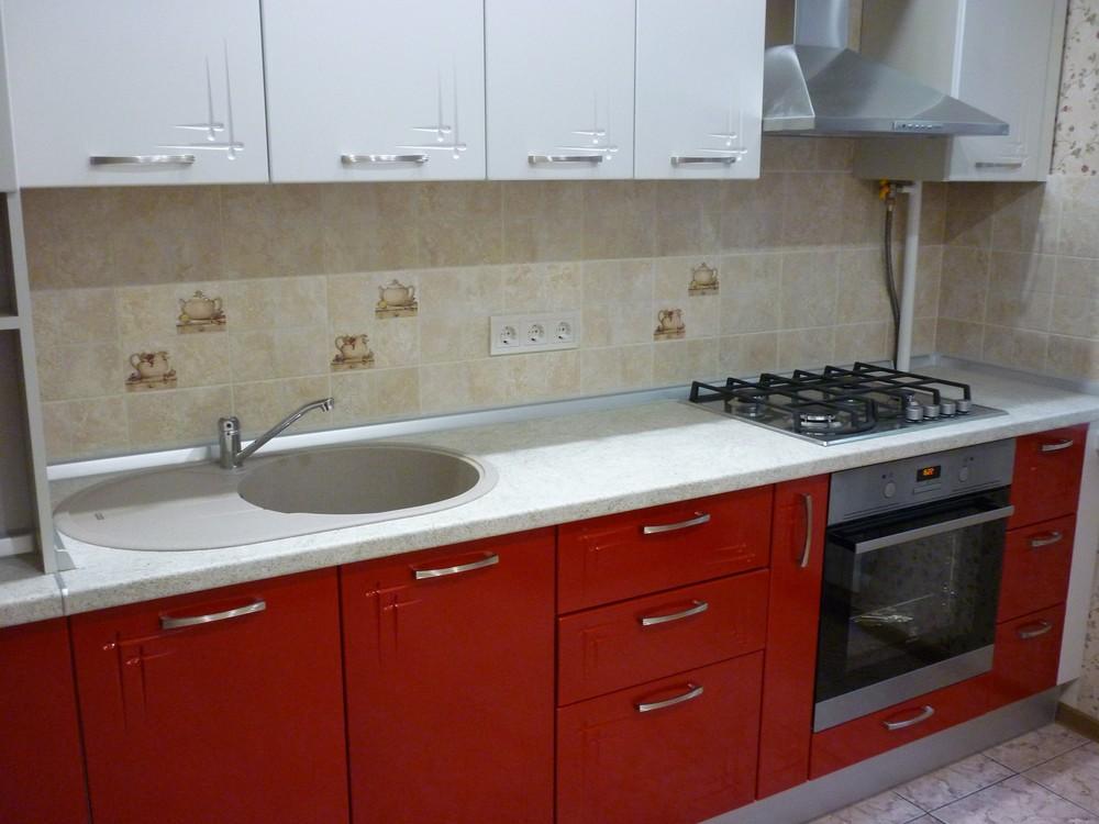 Встроенная кухня-Кухня МДФ в ПВХ «Модель 253»-фото1