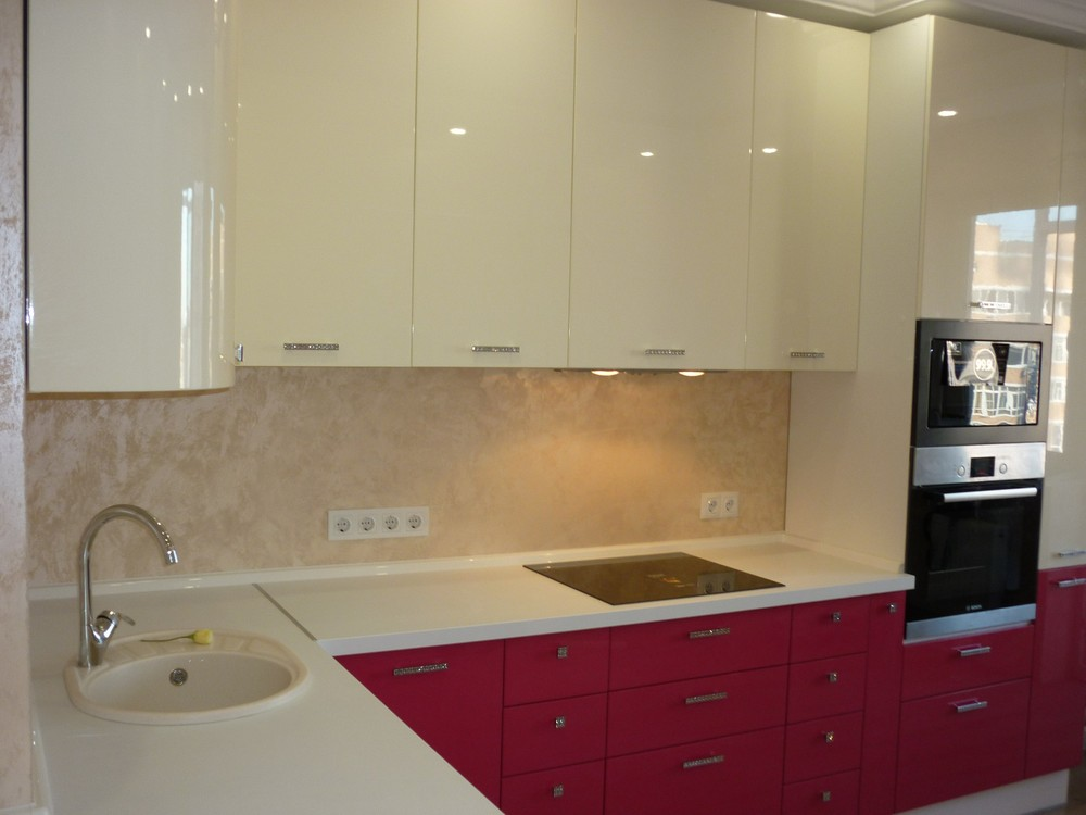 Встроенная кухня-Кухня МДФ в эмали «Модель 252»-фото4