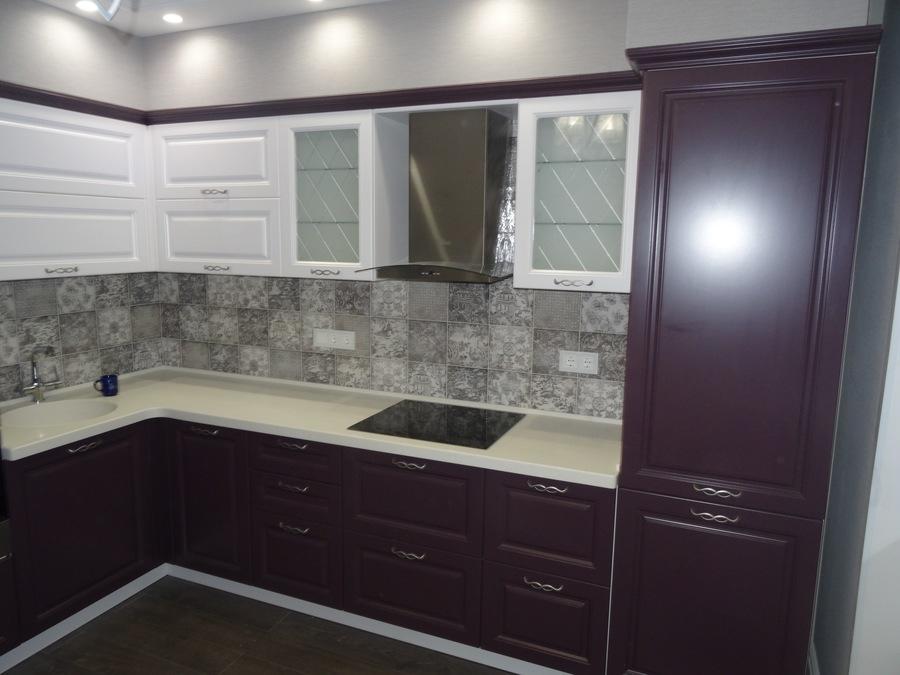 Классические кухни-Кухня МДФ в ПВХ «Модель 518»-фото3