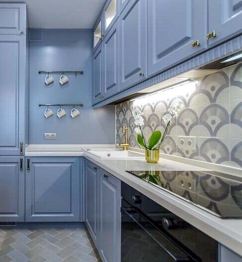 Встроенная кухня-Кухня МДФ в эмали «Модель 420»-фото2