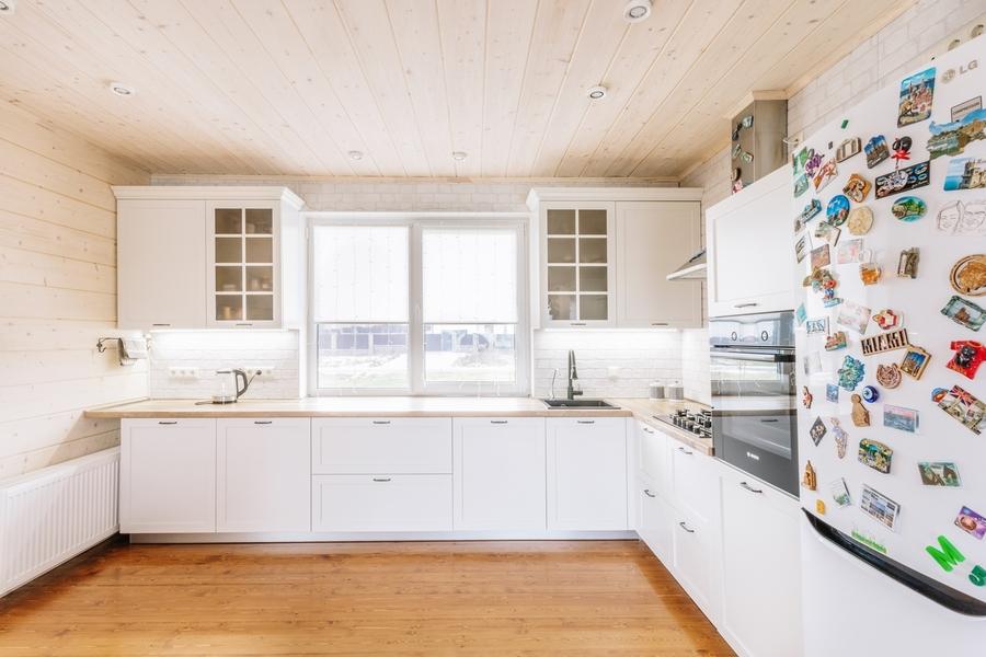 Белый кухонный гарнитур-Кухня МДФ в эмали «Модель 402»-фото1