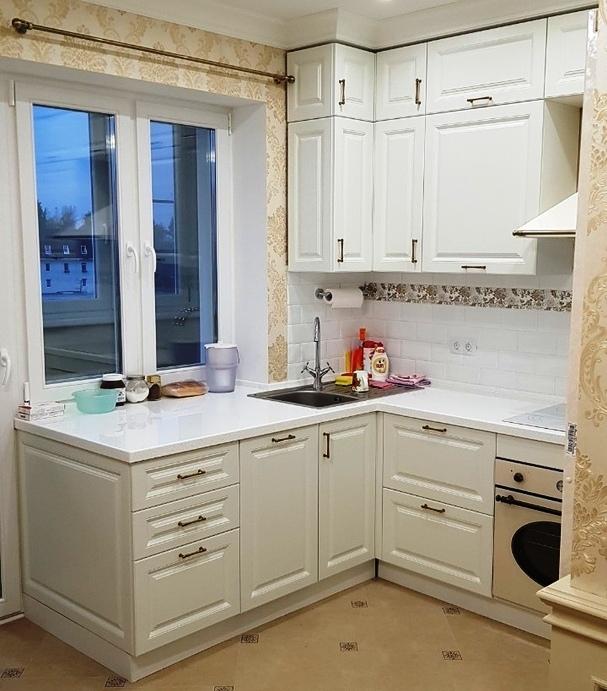 Белый кухонный гарнитур-Кухня МДФ в ПВХ «Модель 531»-фото1
