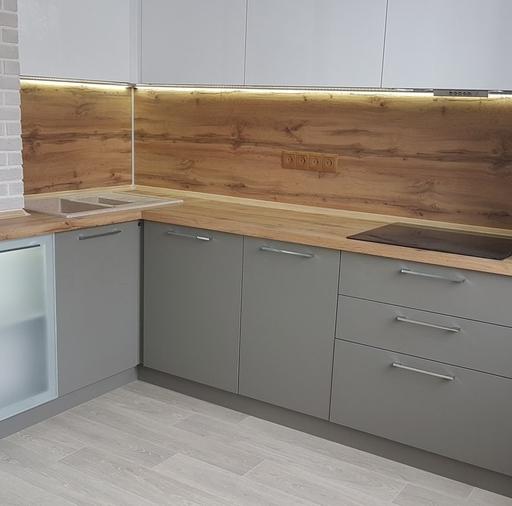 Белый кухонный гарнитур-Кухня из пластика «Модель 374»-фото3