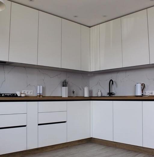 Белый кухонный гарнитур-Кухня МДФ в эмали «Модель 616»-фото6